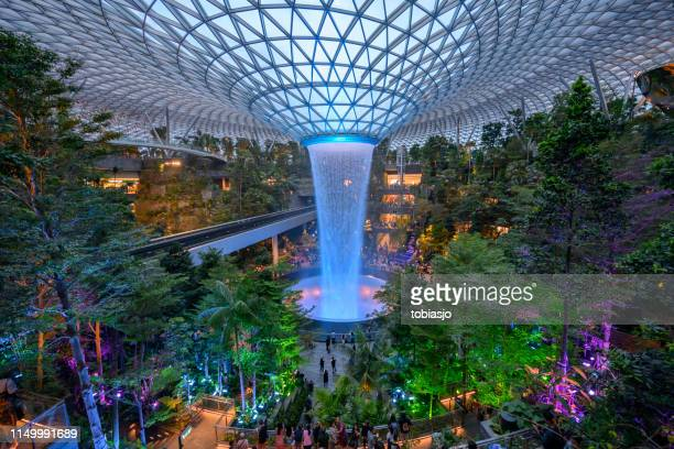 The Rain Vortex waterfall located inside the Jewel Changi Airport in Singapore
