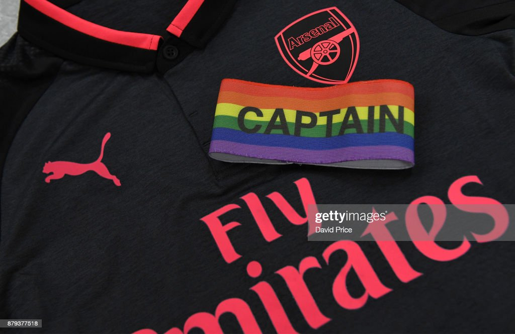 The Rainbow armband on the Arsenal away shirt in the changingroom before the Premier League match between Burnley and Arsenal at Turf Moor on November 26, 2017 in Burnley, England.