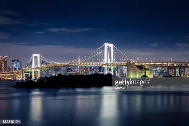The Rainbow bridge in Daiba in Tokyo.