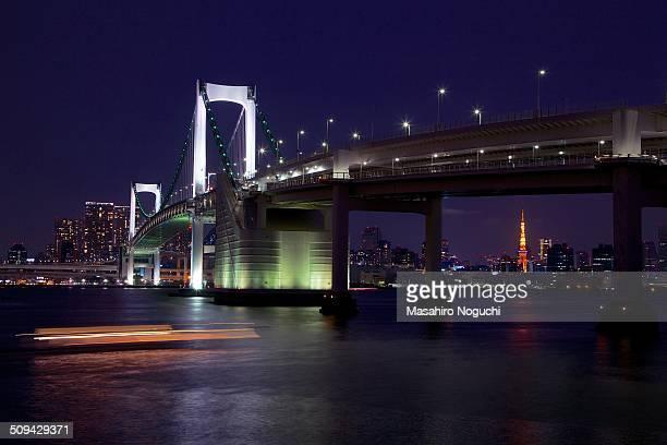 The Rainbow Bridge, Tokyo, at night