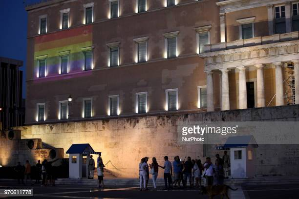 The rainbow flag is projected to the Greek Parliament during Athens Pride 2018 Thousands of people march in the streets of city center during the...