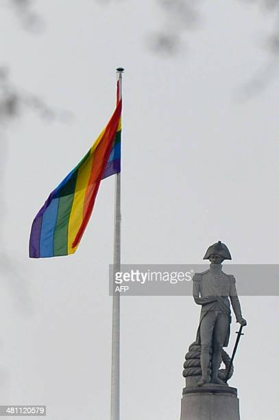 The rainbow gay pride flag flies on Whitehall infront of the statue of Horatio Nelson atop Nelson's Column in central London on March 28 2014 The...
