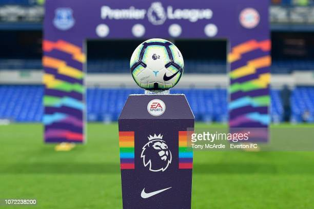 The Rainbow Laces ball plinth before the Premier League International Cup match between Everton U23 and Bayern Munich II at Goodison Park on December...