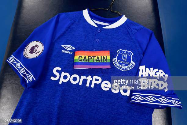 The Rainbow Laces Captains armband before the Premier League International Cup match between Everton U23 and Bayern Munich II at Goodison Park on...