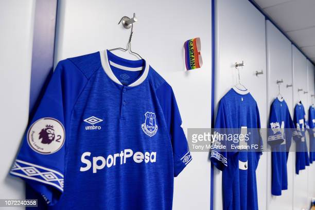 The Rainbow Laces Captain's armband before the Premier League International Cup match between Everton U23 and Bayern Munich at Goodison Park on...