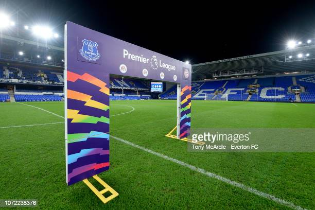 The Rainbow Laces Premier League arch before the Premier League International Cup match between Everton U23 and Bayern Munich II at Goodison Park on...