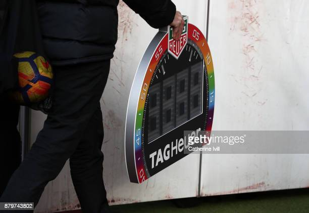 The rainbow laces substitutes board during the Premier League match between Southampton and Everton at St Mary's Stadium on November 26 2017 in...