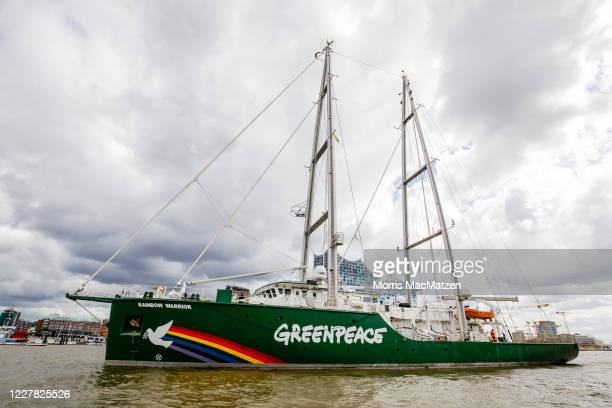 The Rainbow Warrior ship of the environmental activist group Greenpeace, arrives in Hamburg Port on July 29, 2020 in Hamburg, Germany. The ship is...