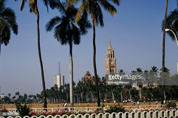 The Rajabai Clock Tower at the University of Mumbai as seen from the Oval Maidan Bombay India 1972