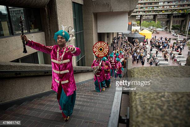 The Rajasthan Heritage Brass Band performs at the 'Station to Station A 30 Day Happening' opening party at Barbican Art Gallery on June 26 2015 in...