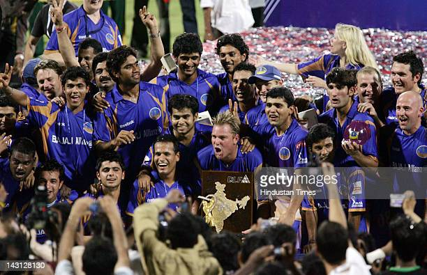 The Rajasthan Royals team celebrate with the IPL trophy after their win over Chennai in the final of IPL 1 at DY Patil stadium on June 1 2008 in...