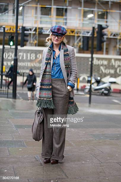 The Rake Editor Sarah Ann Murray wears a blue and red plaid flat cap fair isle scarf Ralph Lauren tweed jacket and loosetrousers and chambray...
