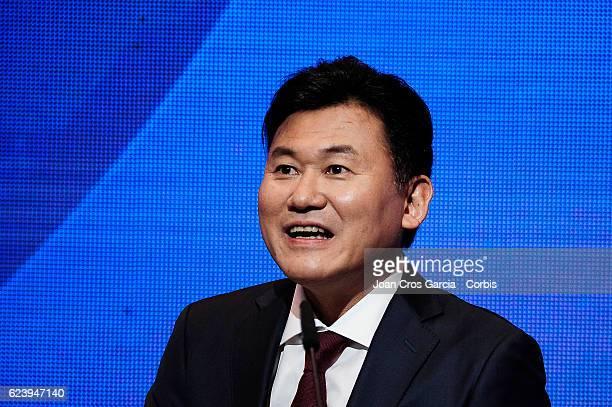 The Rakuten CEO Hiroshi Mikitani launching the new FCBarcelona Global Partner Rakuten on November 16 2016 in Barcelona Spain