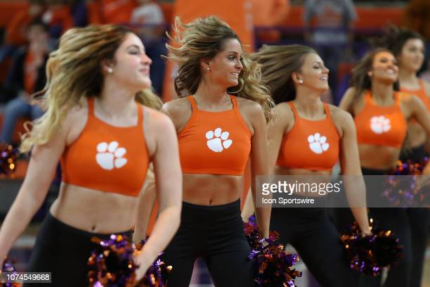 The 'Rally Cats' perform during a college basketball game between the Charleston Southern Buccaneers and the Clemson Tigers on December 18 2018 at...