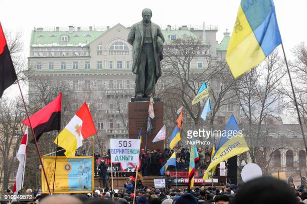 The rally of Saakashvili supporters near Taras Shevchenko monument in Kyiv Ukraine Feb 18 2018 Few thousands of protesters and supporters of the...