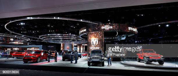 The Ram exhibit is shown at the 2018 North American International Auto Show January 15 2018 in Detroit Michigan More than 5100 journalists from 61...
