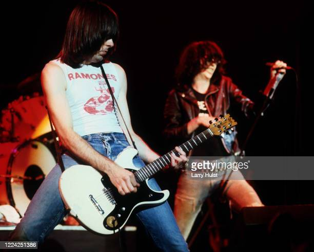 The Ramones are performing at the University of California at Stckton,, California on December 3, 1984.