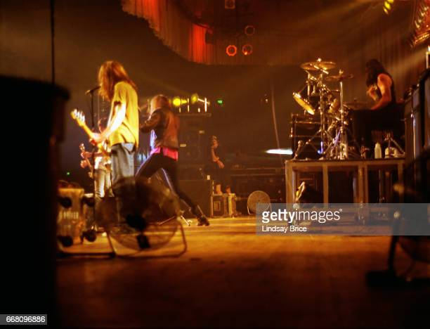 The Ramones at Hollywood Palladium October 16 View of L to R CJ Ramone Joey Ramone and Marky Ramone in performance with The Ramones at the Hollywood...