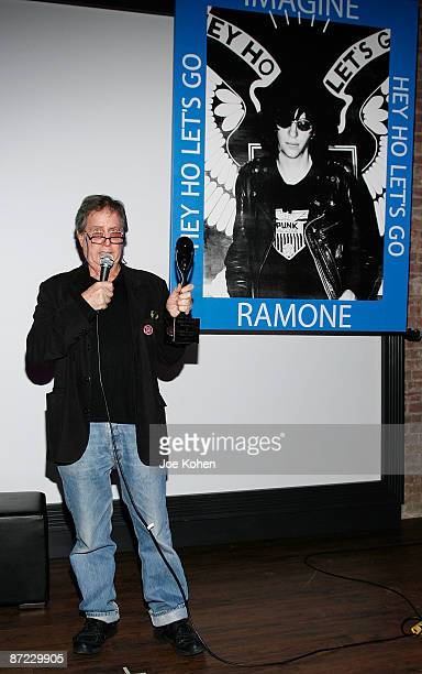The Ramones' first manager Danny Fields attends the representation of Joey Ramone's Rock Roll Hall of Fame Induction Award at Rock Roll Hall of Fame...