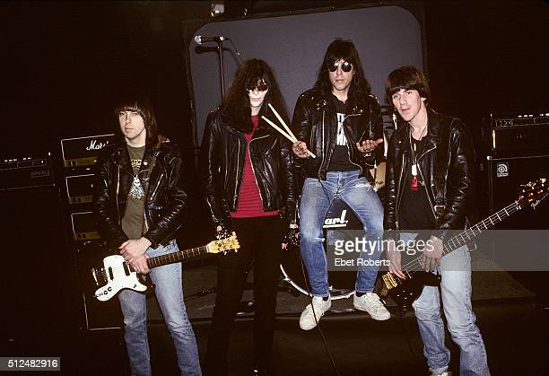 The Ramones group portrait at a video shoot at CINE Studios in New York City on March 19, 1990. L-R Johnny Ramone, Joey Ramone, Marky Ramone, CJ...