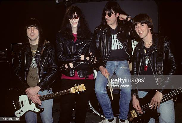 The Ramones group portrait at a video shoot at CINE Studios in New York City on March 19 1990 LR Johnny Ramone Joey Ramone Marky Ramone CJ Ramone
