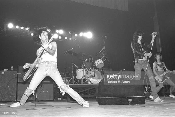 The Ramones perform live on stage at The Palladium New York on January 07 1978 LR Johnny Ramone Tommy Ramone Joey Ramone Dee Dee Ramone