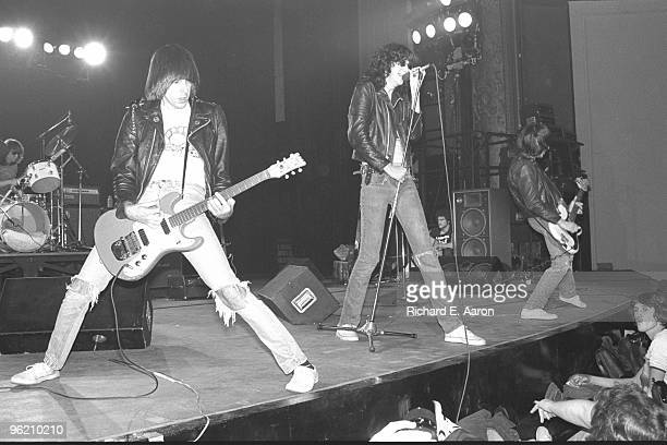 The Ramones perform live on stage at The Palladium New York on January 07 1978 LR Tommy Ramone Johnny Ramone Joey Ramone Dee Dee Ramone