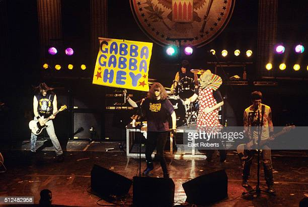 The Ramones performing at the Academy in New York City on February 29 1996 LR Johnny Ramone Joey Ramone holding up a 'Gabba Gabba Hey' placard Marky...