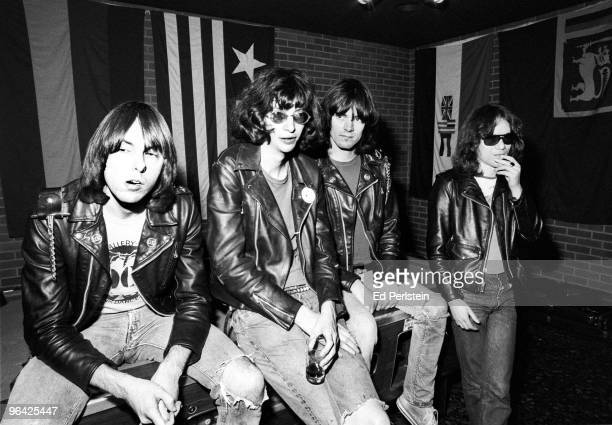 The Ramones pose backstage at the Old Waldorf club in January 1978 in San Francisco, California.