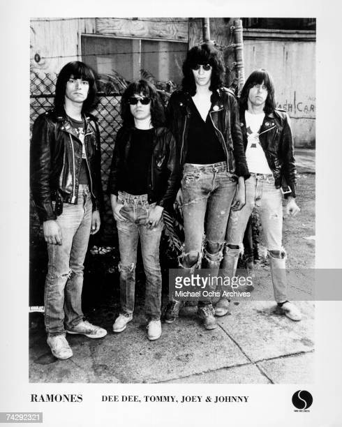 The Ramones pose for the album cover session for their third record 'Rocket To Russia' and released on November 4, 1977.