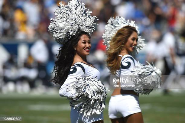 The Rams cheerleader performs during an NFL game between the Los Angeles Chargers and the Los Angeles Rams on September 23 at the Los Angeles...