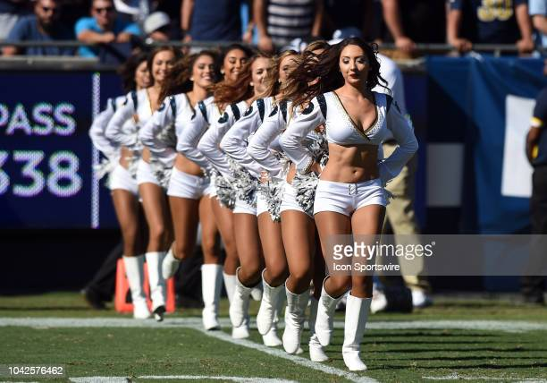 The Rams cheerleaders perform during an NFL game between the Los Angeles Chargers and the Los Angeles Rams on September 23 at the Los Angeles...