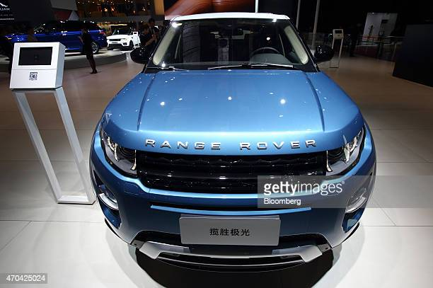The Range Rover Evoque sports utility vehicle produced by Tata Motors Ltd's Jaguar Rover unit is displayed at the 16th Shanghai International...
