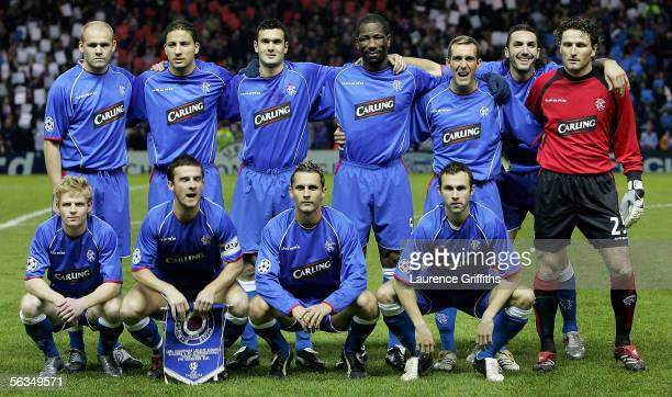 The Rangers team line up before the UEFA Champions League match between Rangers and Inter Milan on December 6 2005 at Ibrox Stadium in Glasgow...