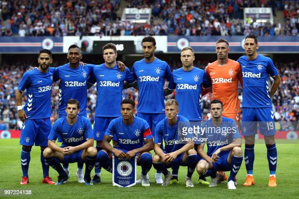 The Rangers team pose for a team photo during the UEFA Europa League Qualifying Round match between Rangers and Shkupi at Ibrox Stadium on July 12...