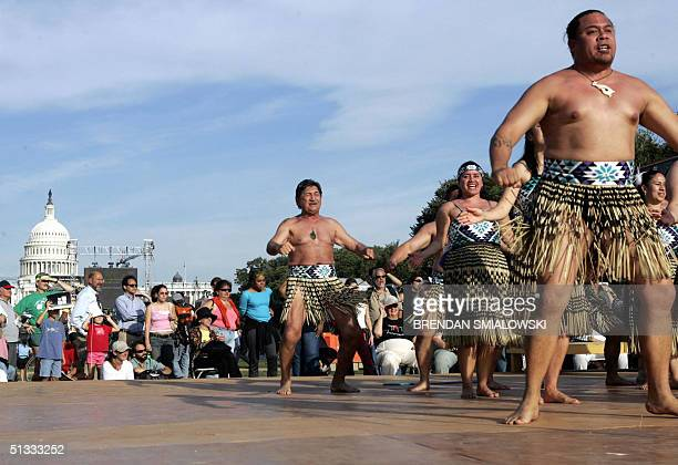 The Rangimirie group of New Zealand dance during the grand opening of the Smithsonian's National Museum of the American Indian 21 September 2004 on...