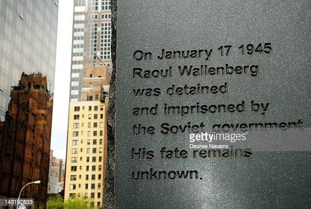 The Raoul Wallenberg Monument at the Raoul Wallenberg Centenary ceremony at Raoul Wallenberg Plaza on April 20 2012 in New York City