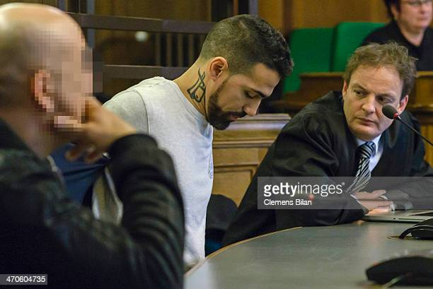 The rap musician Bushido his lawyer Stefan Conen and another accused person wait at the Kriminalgericht Moabit before an assualt hearing on February...