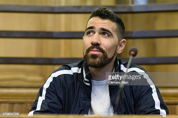 The rap musician Bushido waits at the Kriminalgericht Moabit before an assault hearing on February 20 2014 in Berlin Germany Bushido was acquitted of...