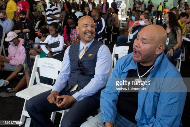 The rapper Fat Joe shares a laugh with Bronx Borough President Ruben Diaz Jr, as they attend the ground breaking ceremony for the future Universal...