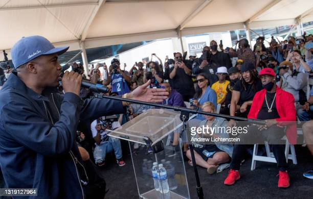 The rapper Nas attends the ground breaking ceremony for the future Universal Hip Hop Museum on May 20, 2021 in the Bronx, New York.