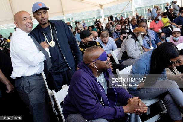 The rapper Nas poses for a photograph with New York State Assembly Speaker Carl Heastie as they attend the ground breaking ceremony for the future...