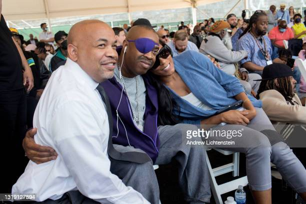 The rapper Slick Rick poses for a photograph with New York State Assembly Speaker Carl Heastie as they attend the ground breaking ceremony for the...