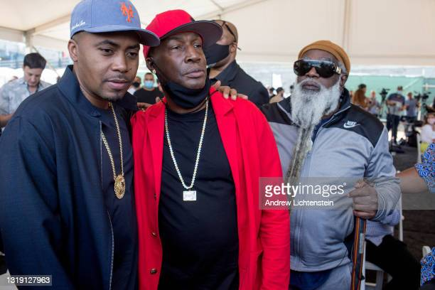 The rappers Nas and Grand Master Flash attend the ground breaking ceremony for the future Universal Hip Hop Museum on May 20, 2021 in the Bronx, New...