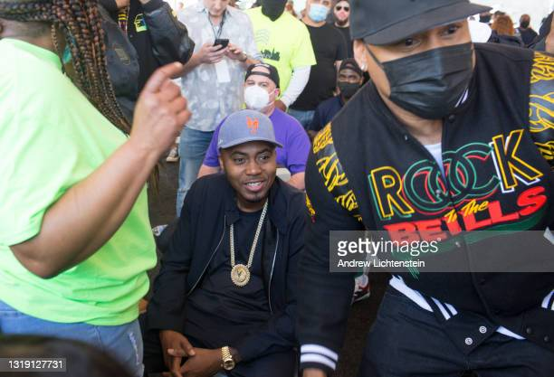The rappers Nas and LL Cool J attend the ground breaking ceremony for the future Universal Hip Hop Museum on May 20, 2021 in the Bronx, New York.