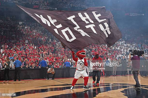 The Raptor mascot of the Toronto Raptors gets the crowd into Game Six of the NBA Eastern Conference Finals against the Cleveland Cavaliers at Air...
