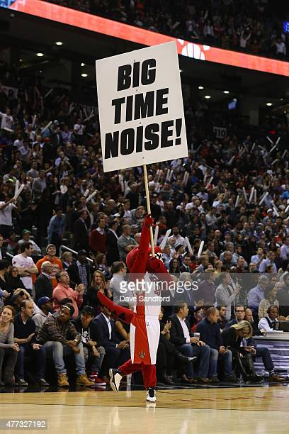 The Raptor mascot of the Toronto Raptors gets the fans into the game against the Chicago Bulls at the Air Canada Centre on November 13 2014 in...