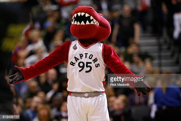 The Raptor the team mascot helps get the crowd loud Toronto Raptors vs Utah Jazz in 2nd half action of NBA regular season play at Air Canada Centre...