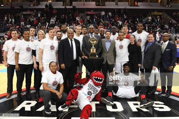 The Raptors 905 are awarded their Eastern Conference Champions trophy after the win against the Maine Red Claws at the Hershey Centre on April 19...