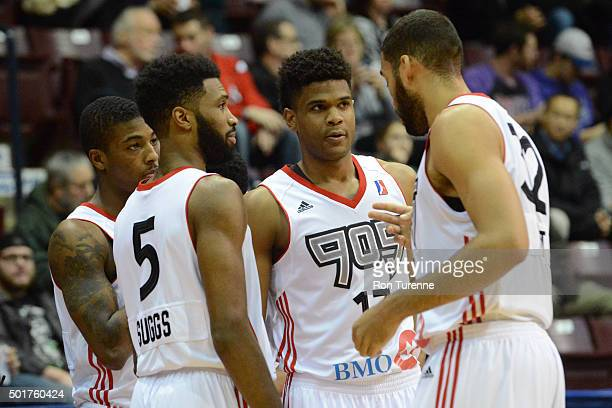 The Raptors 905 discuss strategy prior to their game against the Grand Rapids Drive at the Hershey Centre on December 16 2015 in Toronto Ontario...